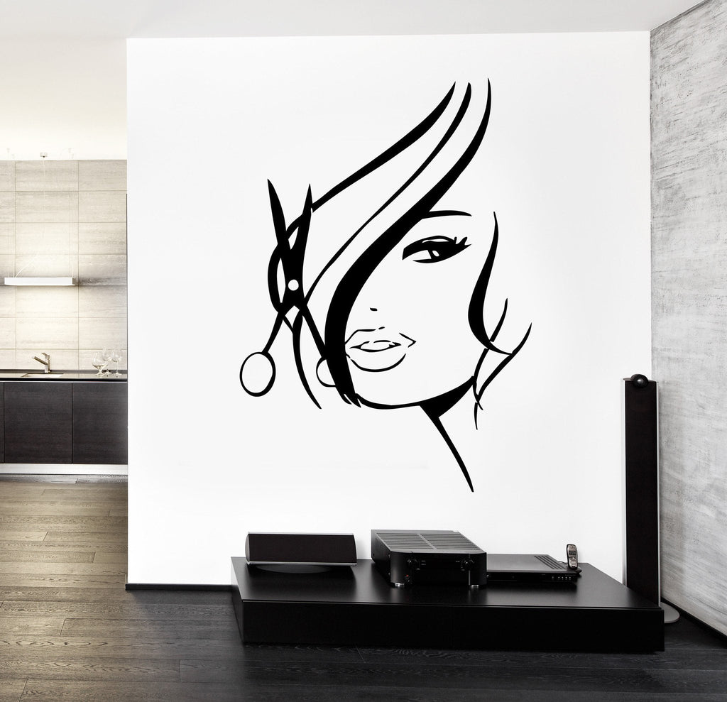 Wall Decal Hair Salon Barbershop Hair Cuttery Unique Gift z3201
