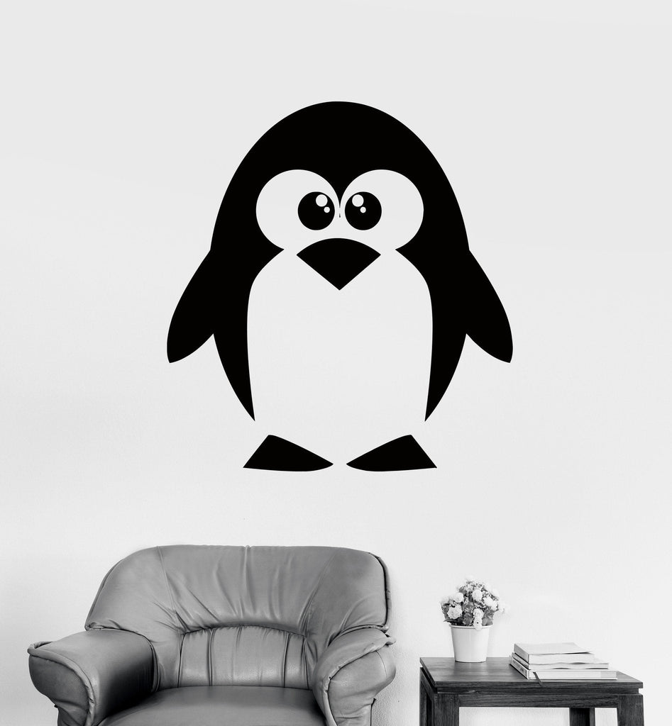 Wall Decal Penguin North Pole Funny Animal Vinyl Sticker (z3202) Size Unique Gift 22''x27''