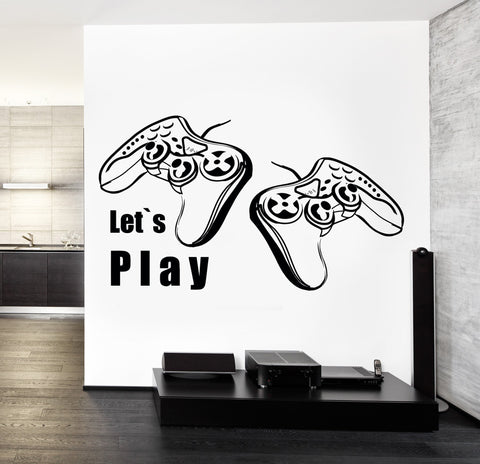 Joysticks Vinyl Decal Wall StickerLet's Play Quote Gaming Gamer's Playroom Decor (z3212)