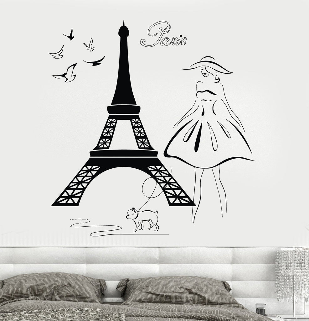 Delightful Wall Decal Eiffel Tower Paris France Travel Vinyl Sticker Unique Gift Z3214