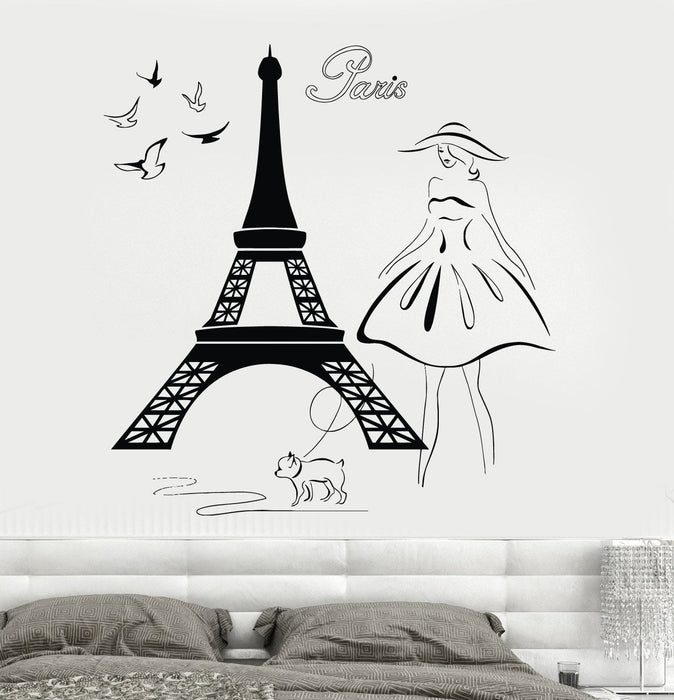 Wall Decal Eiffel Tower Paris France Travel Vinyl Sticker Unique Gift z3214