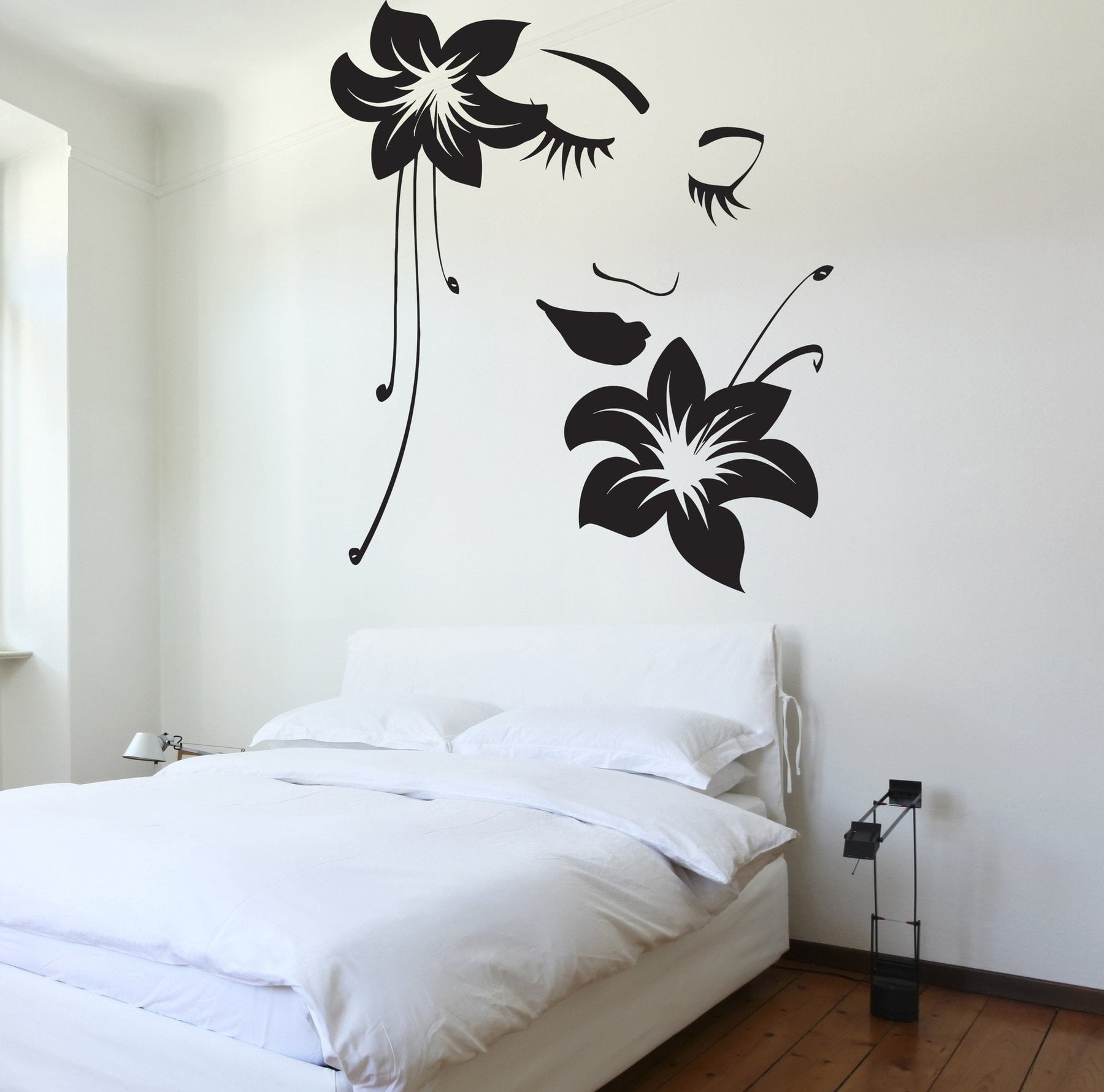 Wall Decal Sexy Girl Vinyl Sticker Flower Beautiful Face Unique Gift (z3228)