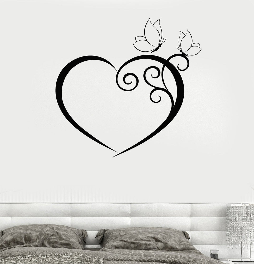 Wall Decal Heart Butterfly Bedroom Romantic Vinyl Sticker Unique Gift (z3235)