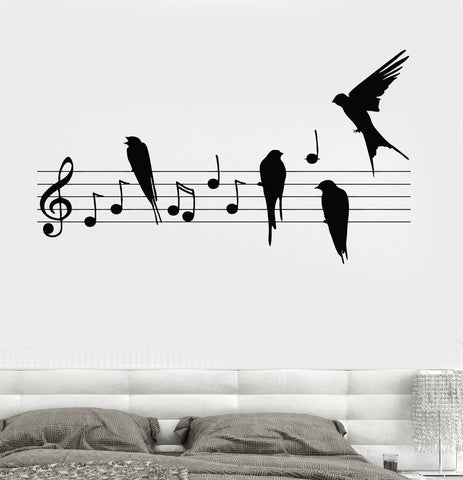 Wall Decal Notes Music Birds Romantic Bedroom Vinyl Sticker (z3237)