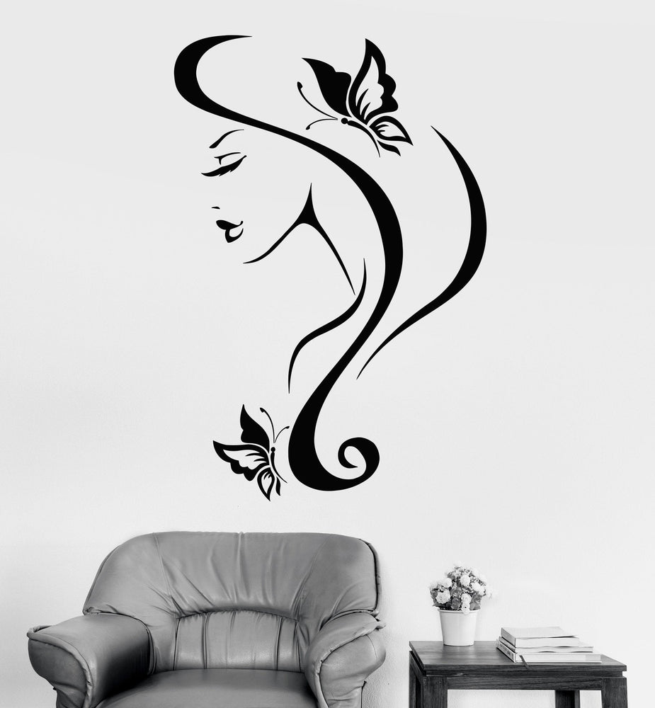 Vinyl Wall Decal Sexy Girl With Hair And Butterfly Spa Salon Decor Unique Gift (z3238)