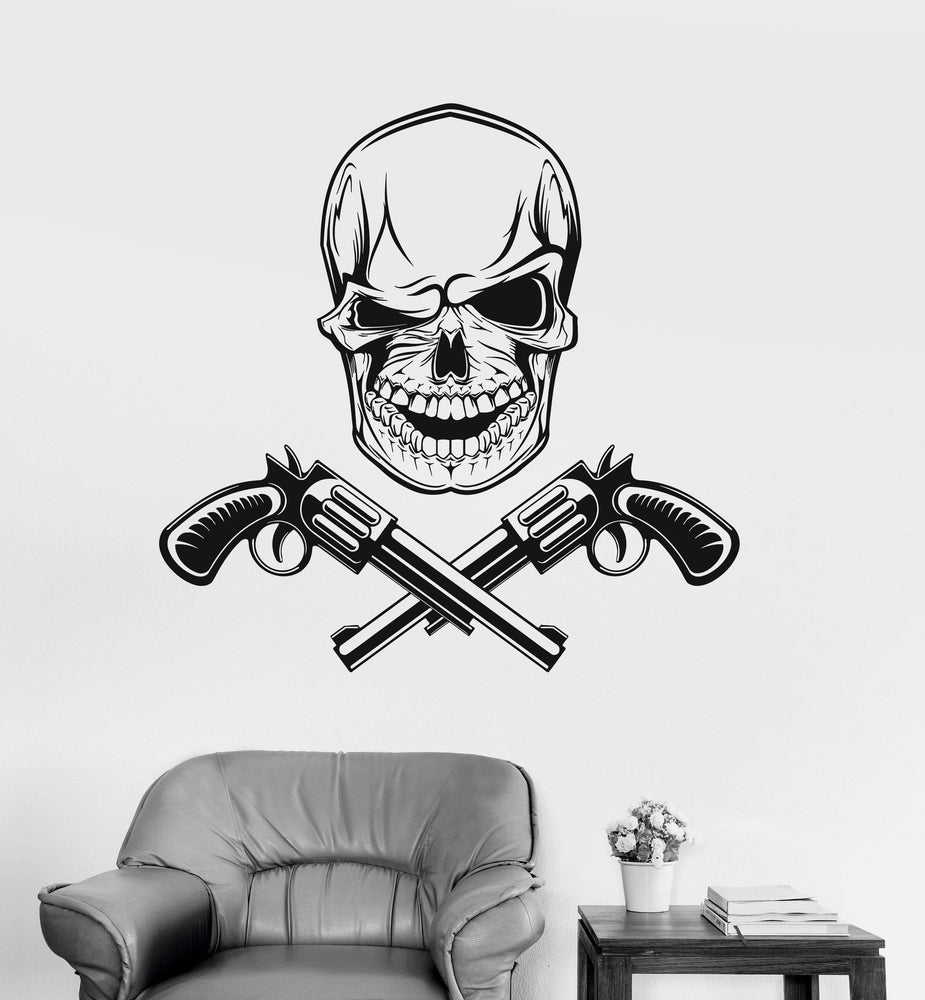 Wall Decal Skull Guns Gangsters Vinyl Sticker Unique Gift z3243