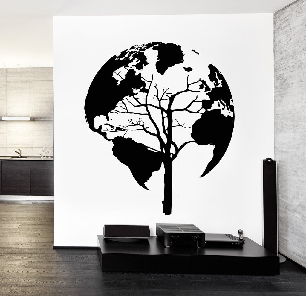 Map Of The World Wall Stickers Wall Decal World Map Tree Cool Abstract Vinyl Sticker