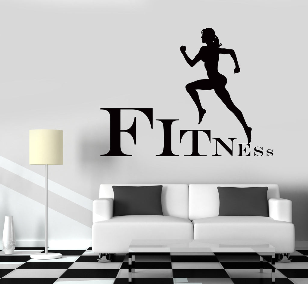 Wall Decal Fitness Girl Gym Woman Sport Vinyl Sticker Unique Gift (z3251)