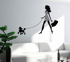 Wall Decal Sexy Girl With Dog Pet Fancy Fashion Vinyl Sticker Unique Gift z3252
