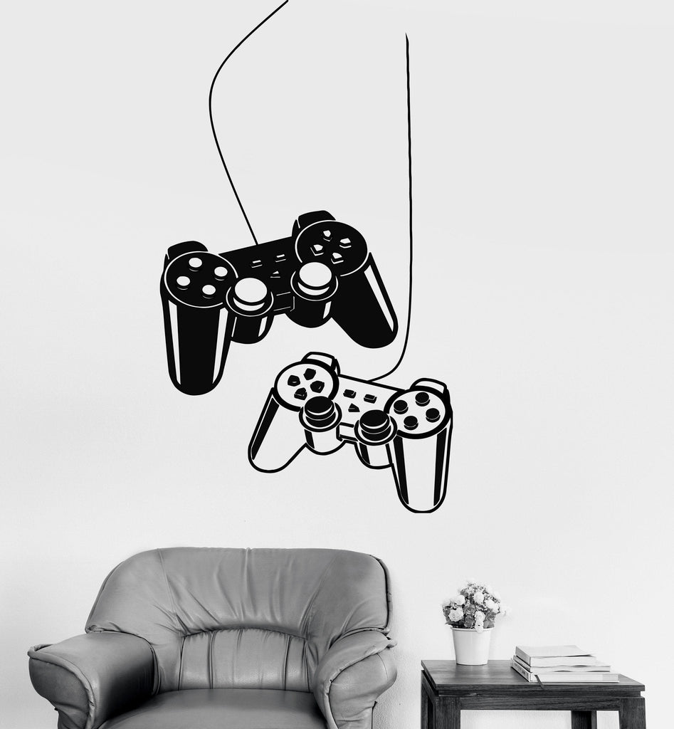 Wall decals gaming gamer joystick vinyl sticker z3269 for Stickers para dormitorios