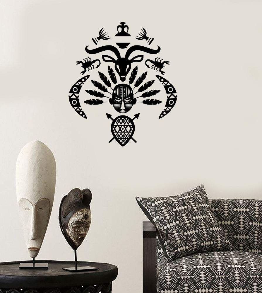 Wall Decal African Mask Symbol Tribal Cool Mural Vinyl Decal Unique Gift (z3321)