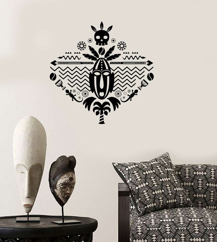 Wall Decal African Mask Symbol Skull Tribal Cool Mural Vinyl Decal Unique Gift (z3323)