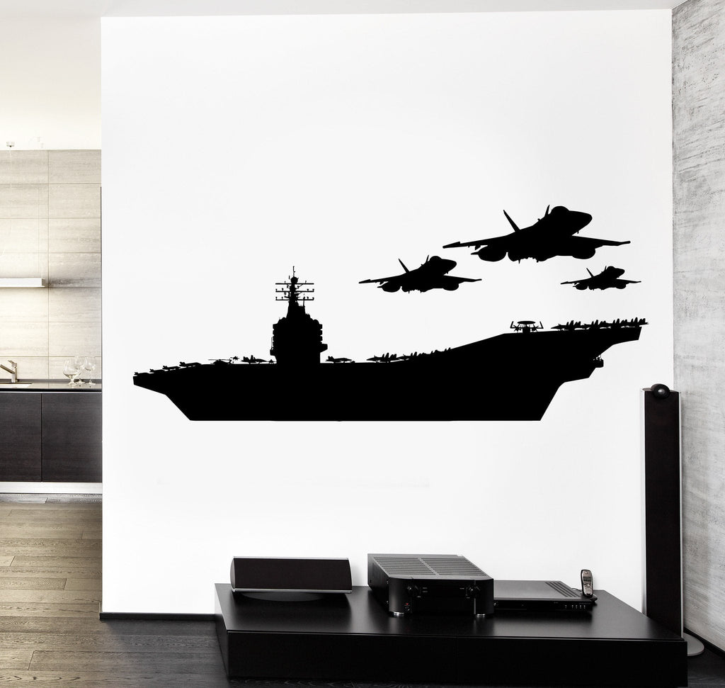 Wall Vinyl Aircraft Carrier Airplanes Jet Guaranteed Quality Decal Unique Gift (z3469)