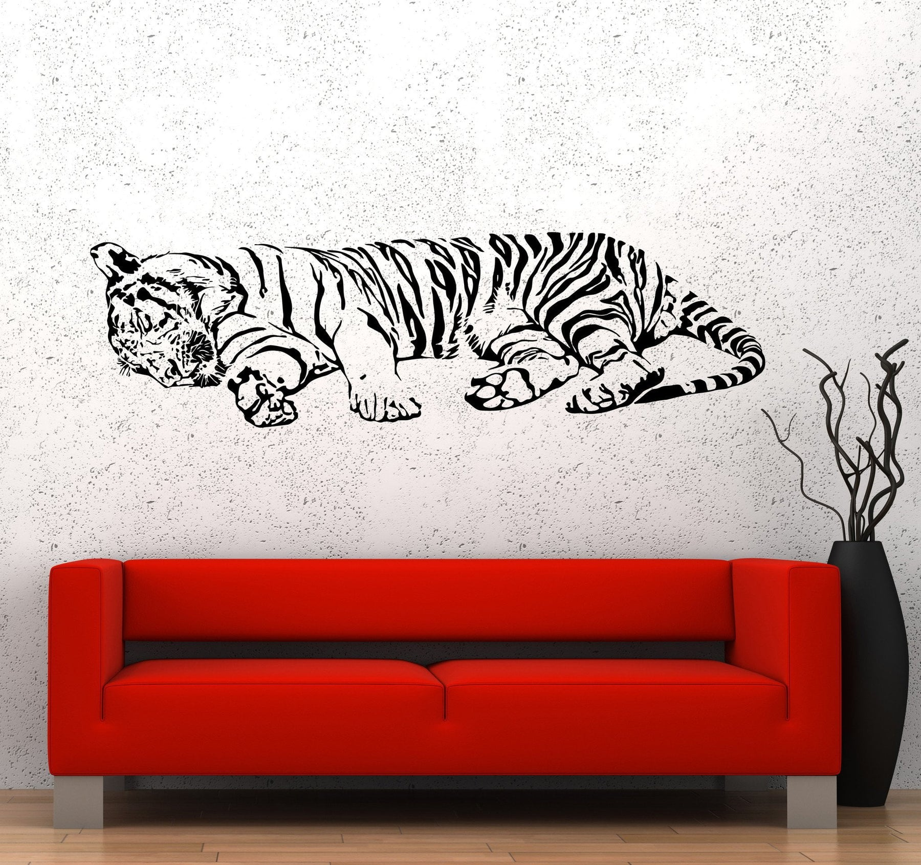 Wall Vinyl Decal Tiger Sleeping Jungle Africa Predator Cool Interior Decor Unique Gift z3652