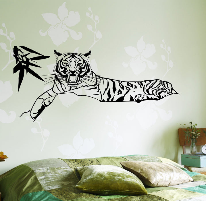 Wall Vinyl Decal Tiger In A Bushes Jungle African Decor Unique Gift z3662