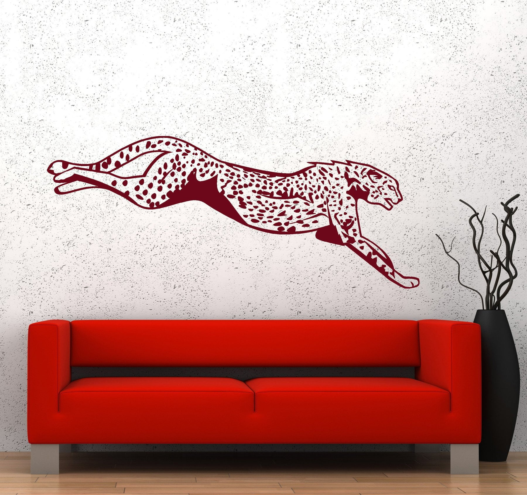 Wall Vinyl Decal Cheetah Leopard Tiger Jumping Hunting Decor Unique Gift z3667