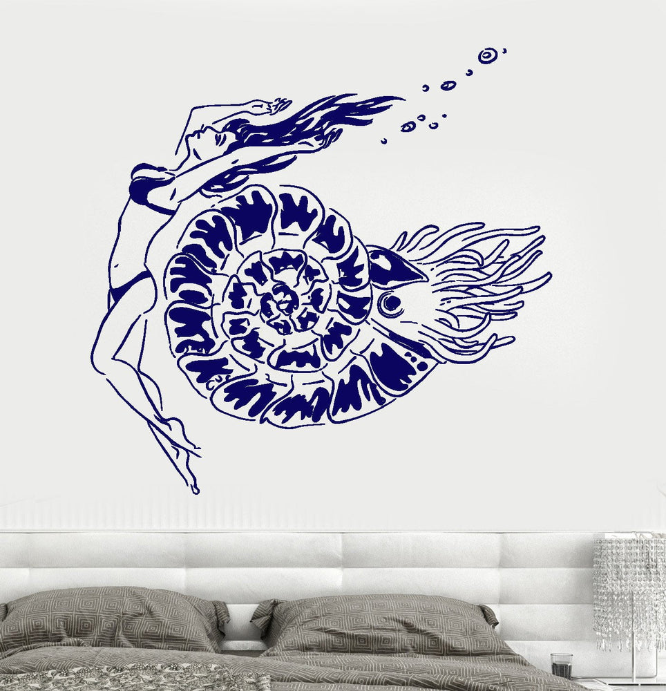 Wall Vinyl Decal Nautical Underwater Shell Sexy Girl Cool Decor Unique Gift z3677