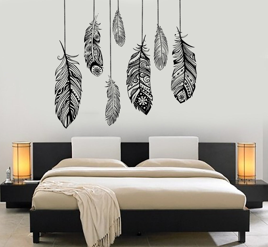 Wall vinyl decal feather romantic bedroom dreamcatcher for Sticker para decorar dormitorios
