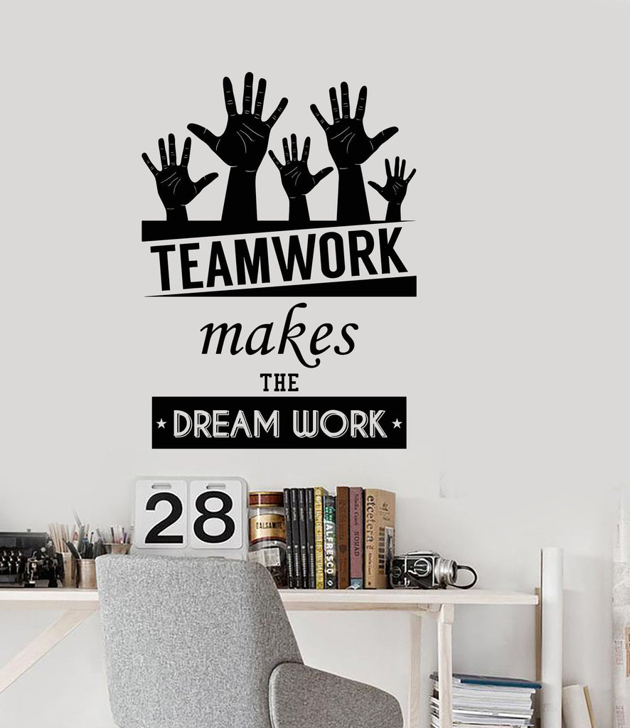 Cool Vinyl Decal Wall Sticker Office Quote Teamwork Makes The - Cool vinyl decal stickers