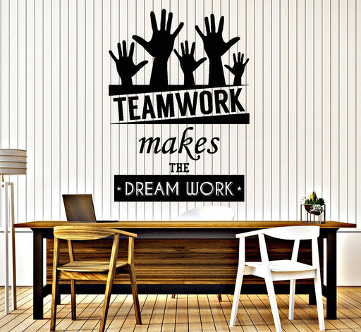 Cool Vinyl Decal Wall Sticker Office Quote Teamwork Makes The Dreamwork Decor Unique Gift (z3955)