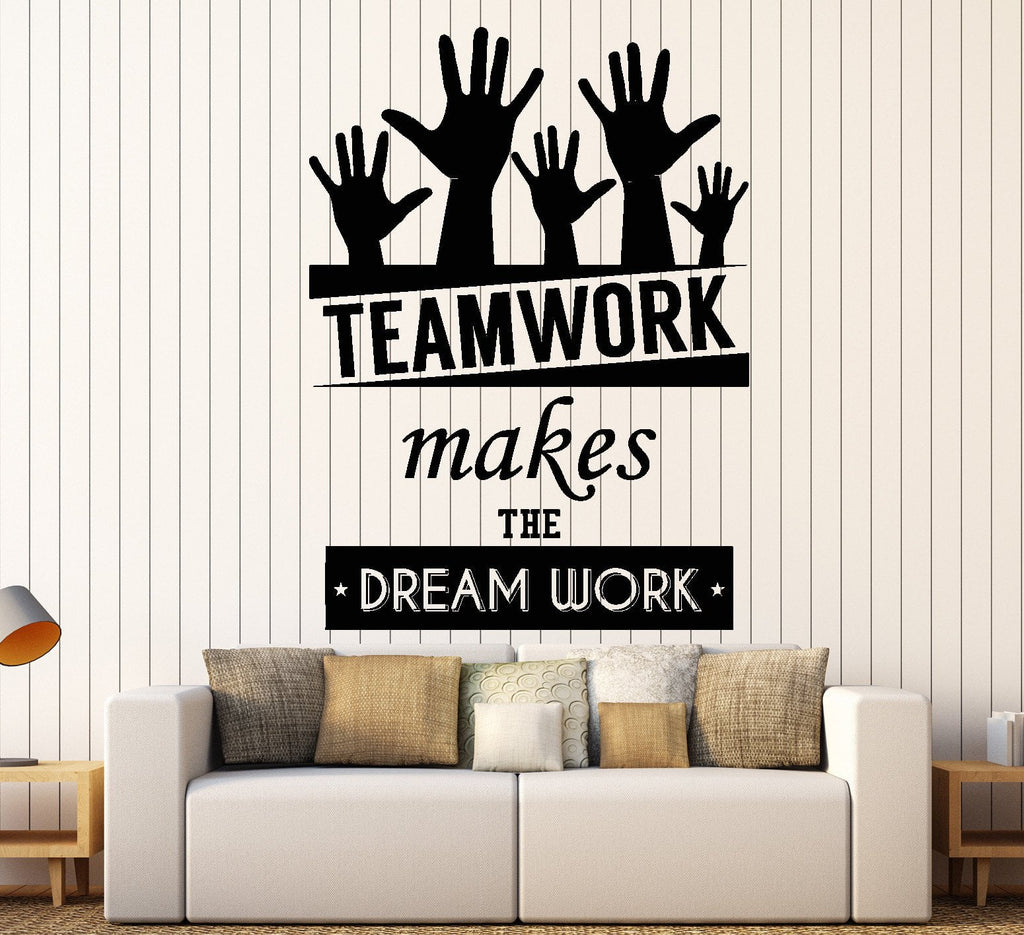 Cool Vinyl Decal Wall Sticker Office Quote Teamwork Makes The Dreamwork  Decor Unique Gift (z3955