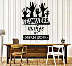Cool Vinyl Decal Wall Sticker Office Quote Teamwork Makes The Dreamwork  Decor (z3955)