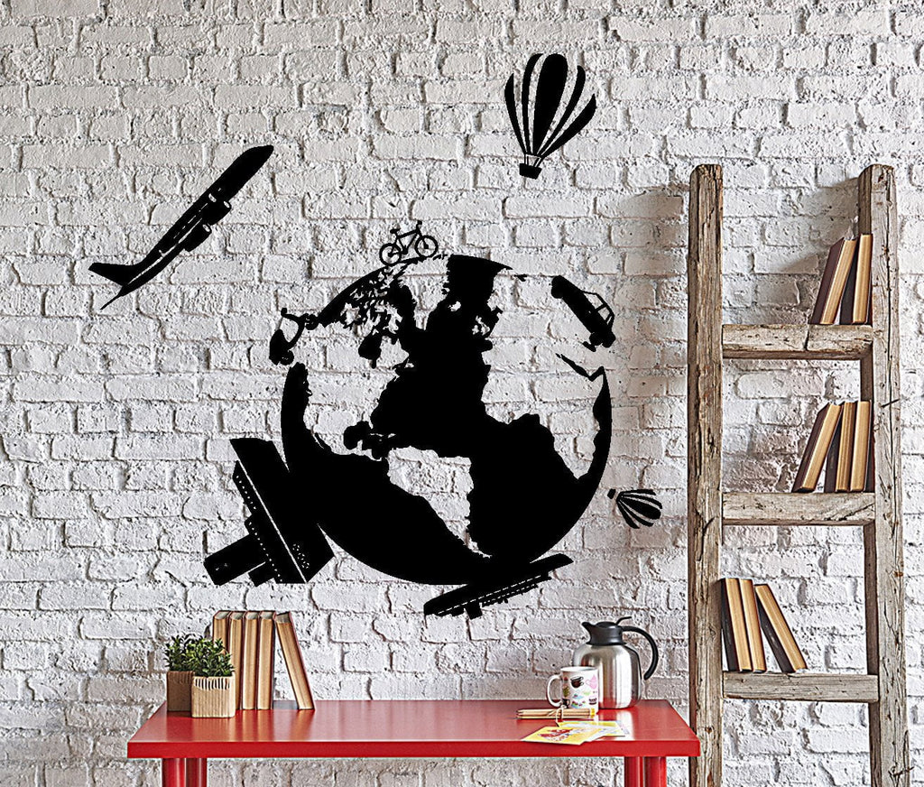 Wall vinyl decal travel world map air balloon ship airplane home wall vinyl decal travel world map air balloon ship airplane home interior decor unique gift z4021 gumiabroncs Image collections