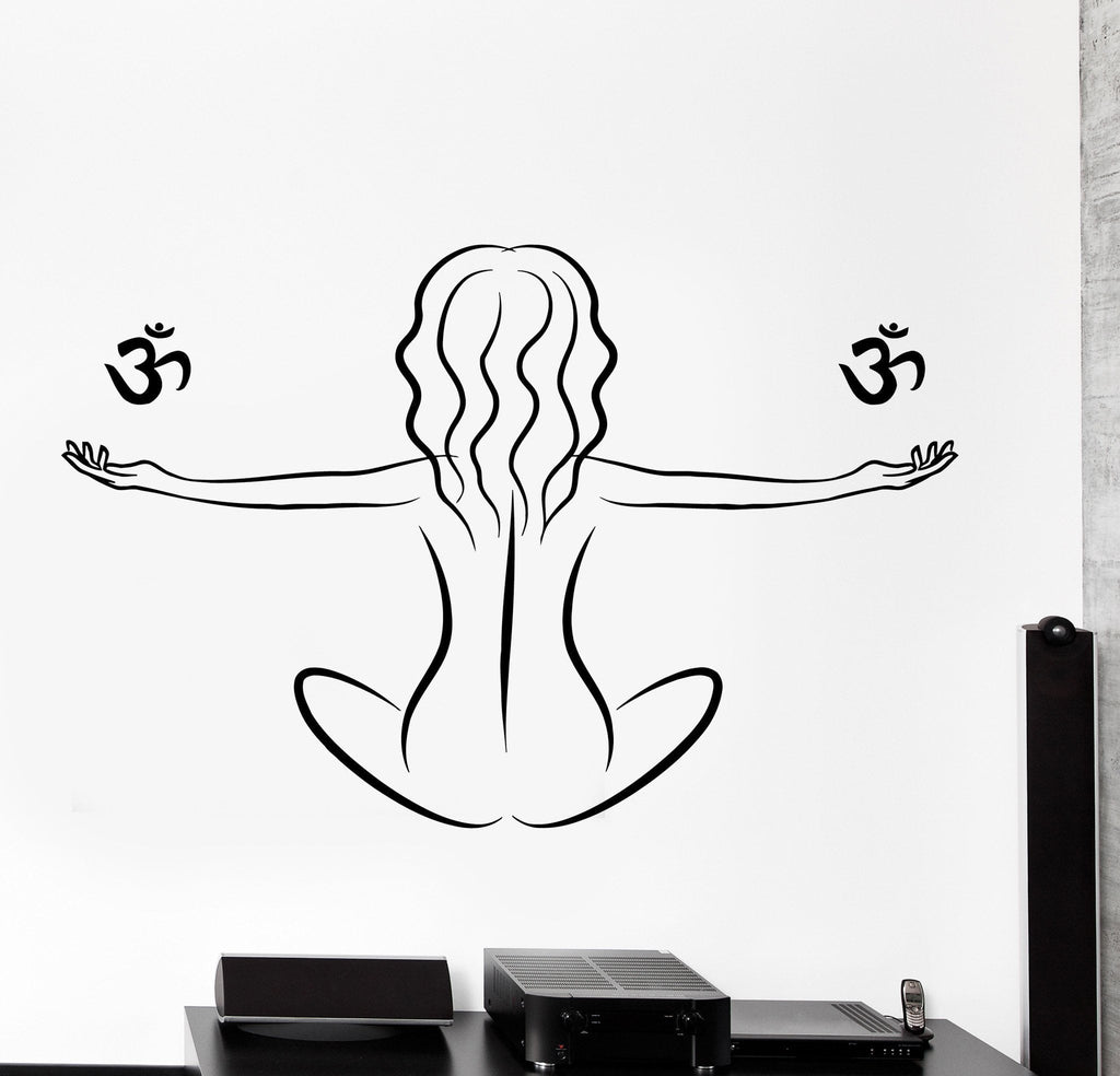 Buddhism Wall Decal Yoga Om Meditation Girl Home Interior Decor z4037