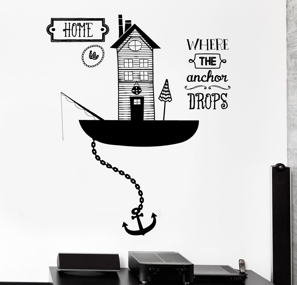 Wall vinyl decal sea ocean quote home is where anchor drops home decor wallstickers4you