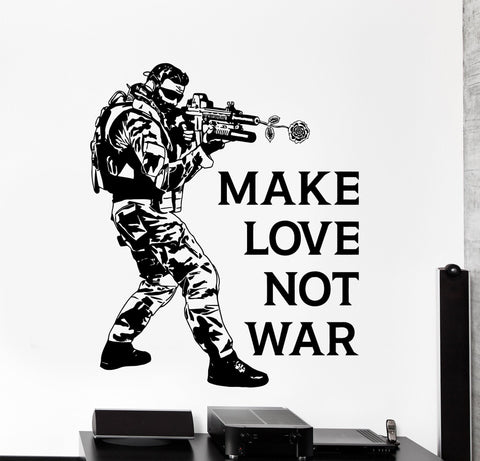 Funny Quotes On Love And War : ... Decal Military Funny Quote Make Love Not War Hippie Home Decor z4221