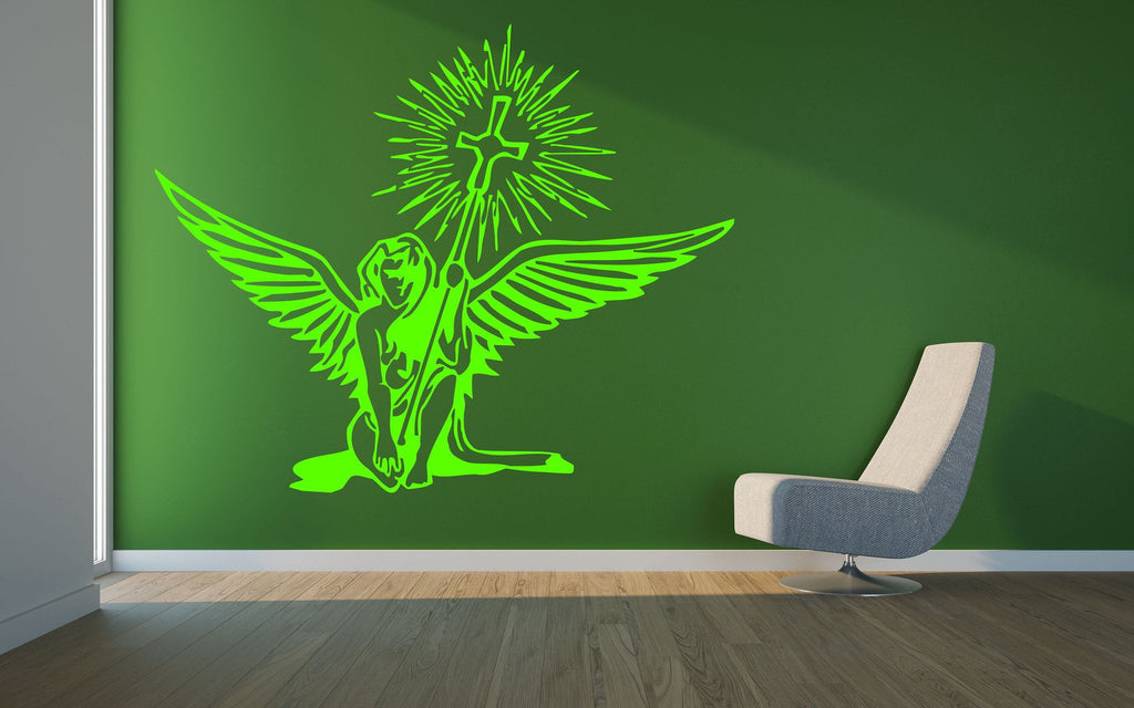 Vinyl Decal Angel Holding Christian Holy Cross Religious Mural Wall Art Decor Sticker Unique Gift (z433)