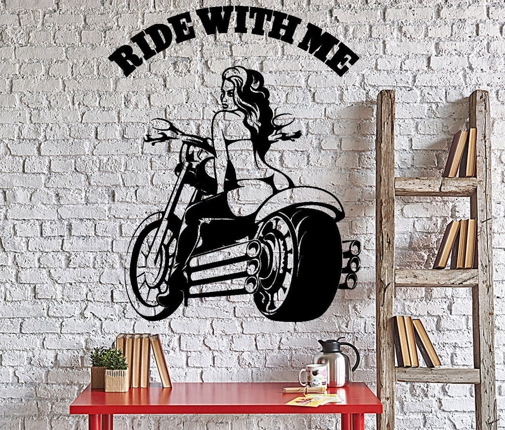 Wall Vinyl Decal Sexy Girl In Lingerie Riding Bike Words Ride With Me –  Wallstickers4you