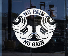 Custom Window and Wall Vinyl Decal Bodybuilding Sport Dumbbels No Pain No Gain Home Decor Unique Gift z4354w