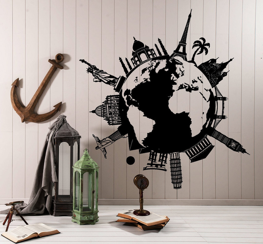 Wall vinyl decal map atlas of the world statue of liberty paris new wall vinyl decal map atlas of the world statue of liberty paris new york decor unique gumiabroncs Gallery