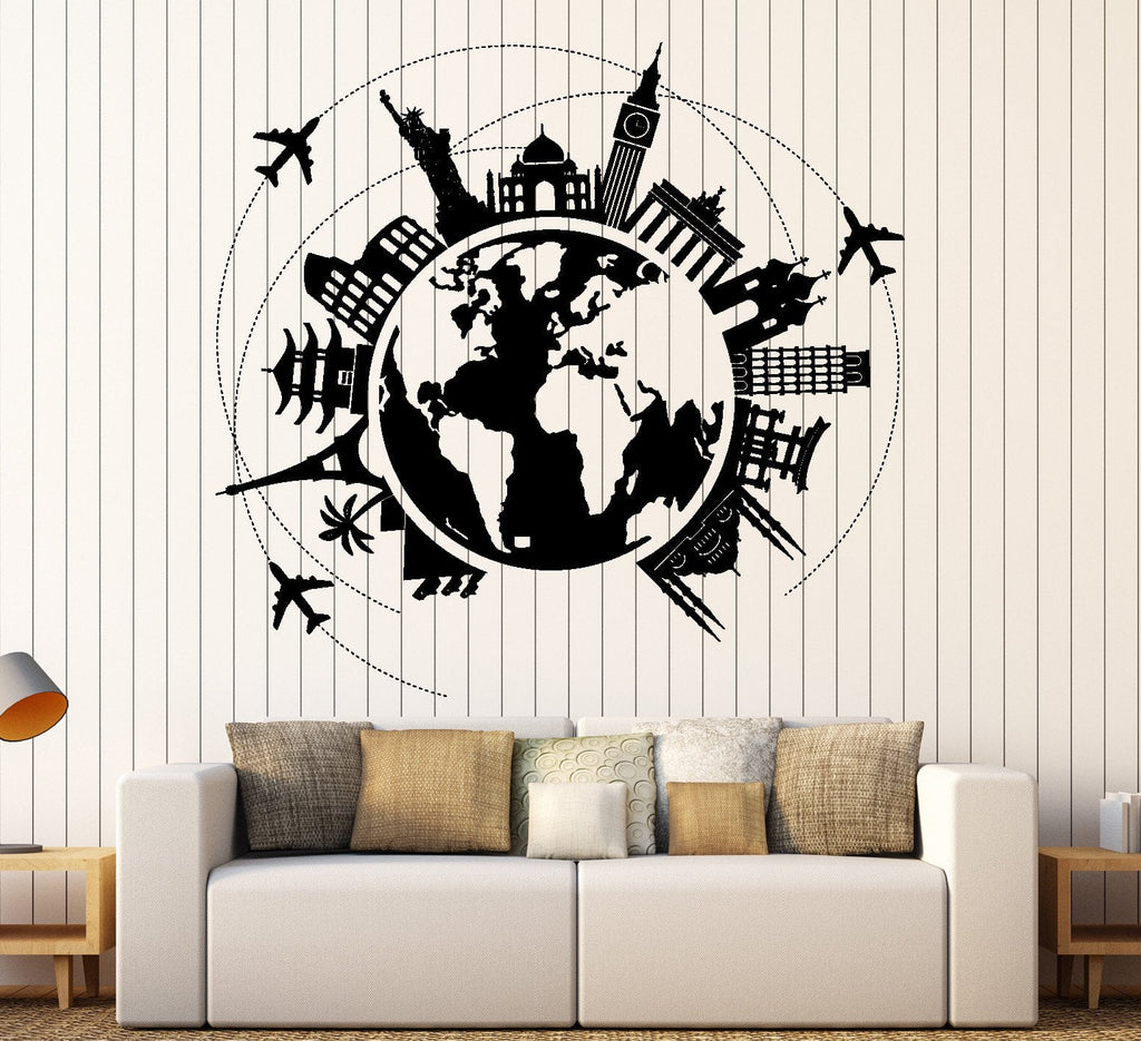 Wall vinyl decal atlas world map travel trip vacation famous places wall vinyl decal atlas world map travel trip vacation famous places home decor unique gift z4413 gumiabroncs Gallery