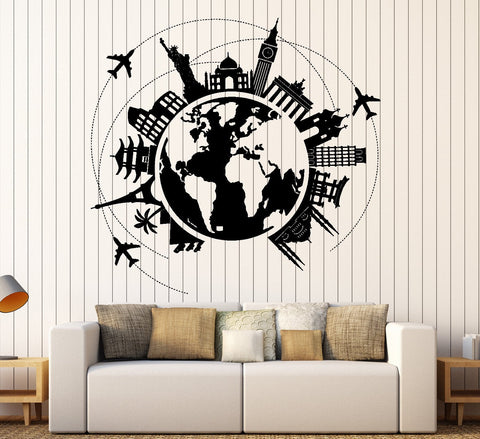 All wall vinyl decals page 5 wallstickers4you wall vinyl decal atlas world map travel trip vacation famous places home decor unique gift z4413 gumiabroncs Gallery