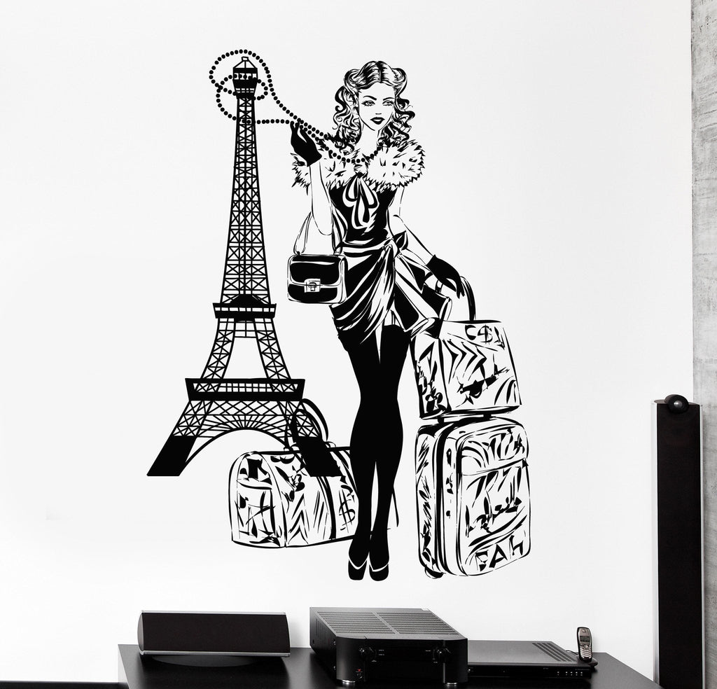 Wall Vinyl Decal Paris Eiffel Tower Hot Sexy Girl Travel Vacation Home Decor Z4417