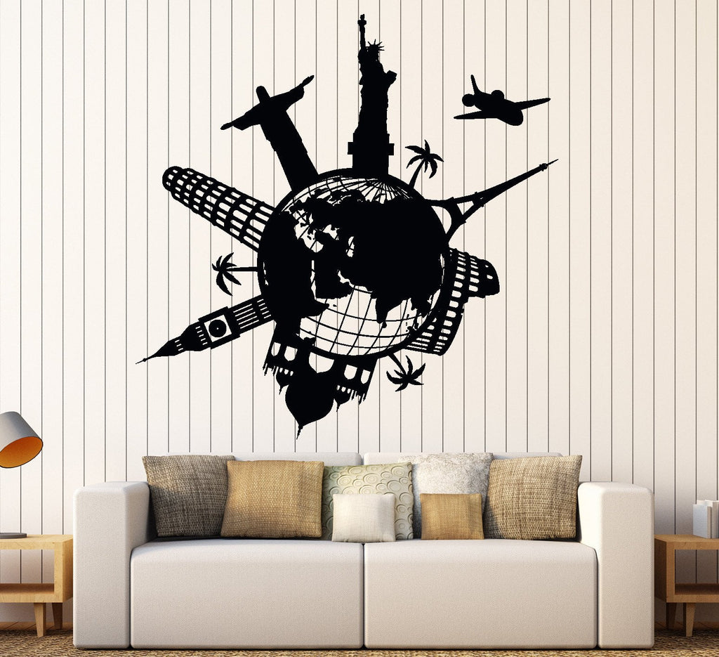 Wall vinyl decal satue of liberty eiffel tower famous places world wall vinyl decal satue of liberty eiffel tower famous places world map home decor unique gift gumiabroncs Image collections