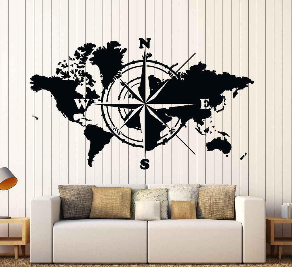 Wall Vinyl Decal World Map Atlas Of The World Compass Home Interior