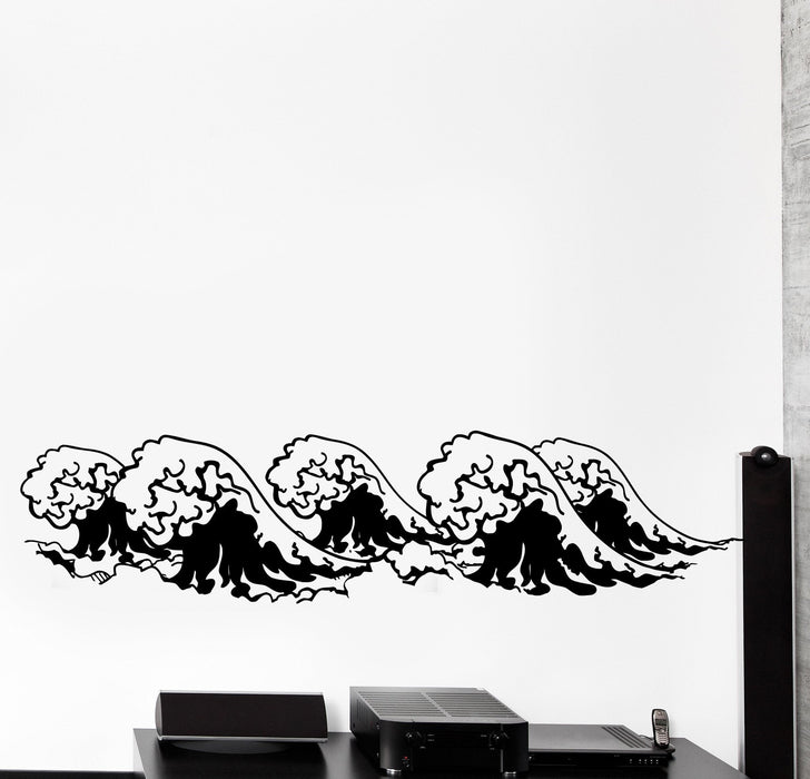 Vinyl Wall Decal Ethnic Japan Style Waves Ocean Sea Home Cozy Big Decor Unique Gift z4446