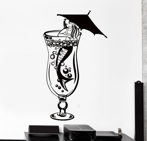 Vinyl Wall Decal Mermaid Cocktail Drink Alcogol Restaurant Bar Interior Decor z4462