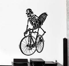 Vinyl Wall Decal Surf Surfing Skeleton Bike Bycicle Funny Big Home Decor Unique Gift z4463