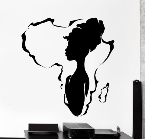Vinyl Wall Decal African Africa Beauty Black Hot Woman Girl Home Interior z4468