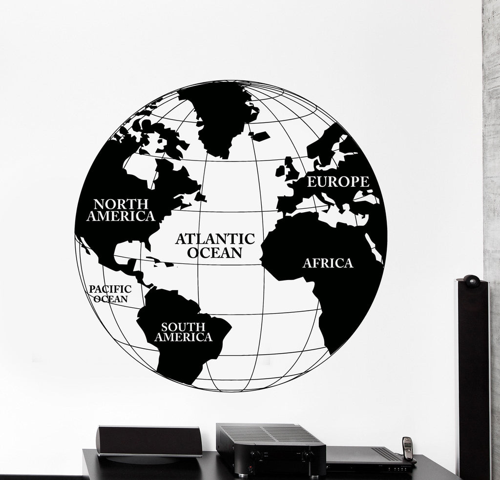Vinyl wall decal world map atlas continents africa europe noth vinyl wall decal world map atlas continents africa europe noth america decor unique gift z4480 gumiabroncs Choice Image