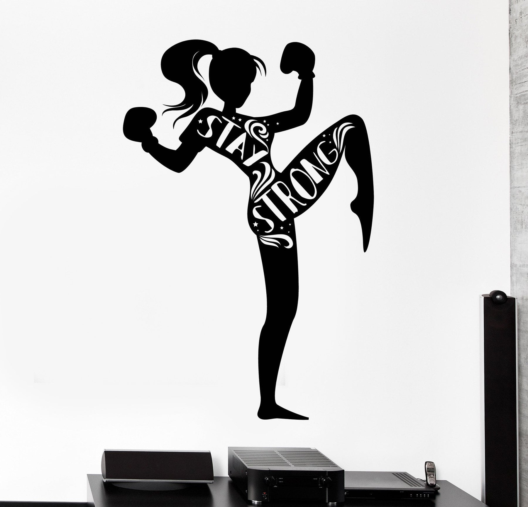 Vinyl Wall Decal Muay Thai Kick Boxing Girl Womant Kick Stay Strong Decor Unique Gift z4486