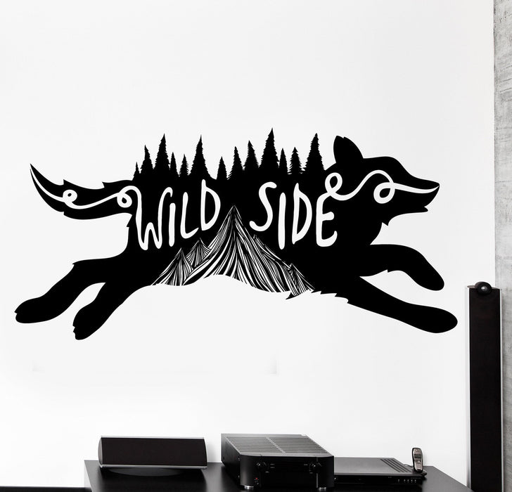 Vinyl Wall Decal Cool Animal Wolf Wild Side Of Life Home Interior Decor Unique Gift z4493