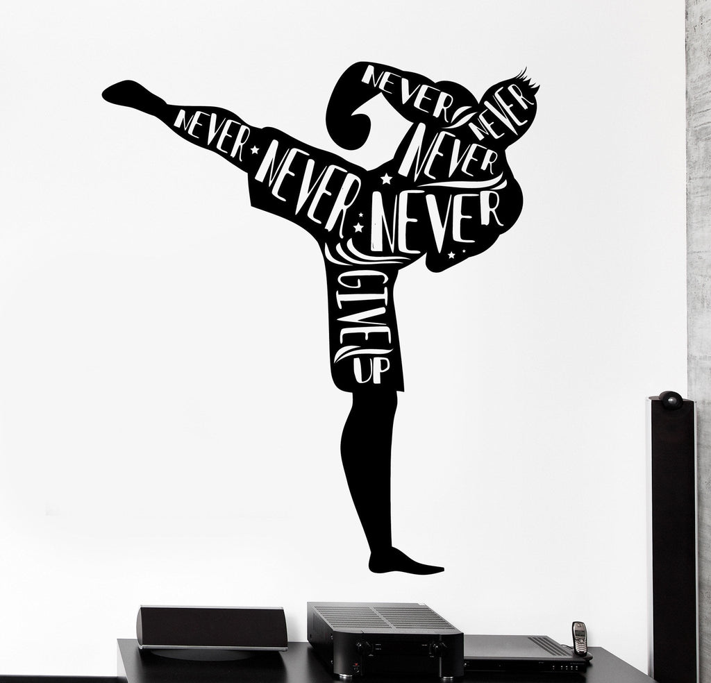 Vinyl Wall Decal Kick Boxing Martial Arts Quote Never Give Up Home Decor Unique Gift z4497  sc 1 st  Wallstickers4you & Vinyl Wall Decal Kick Boxing Martial Arts Quote Never Give Up Home ...