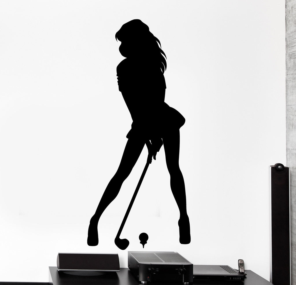 Vinyl wall decal golfer sexy girl playing golf home interior decor vinyl wall decal golfer sexy girl playing golf home interior decor unique gift z4500 amipublicfo Gallery