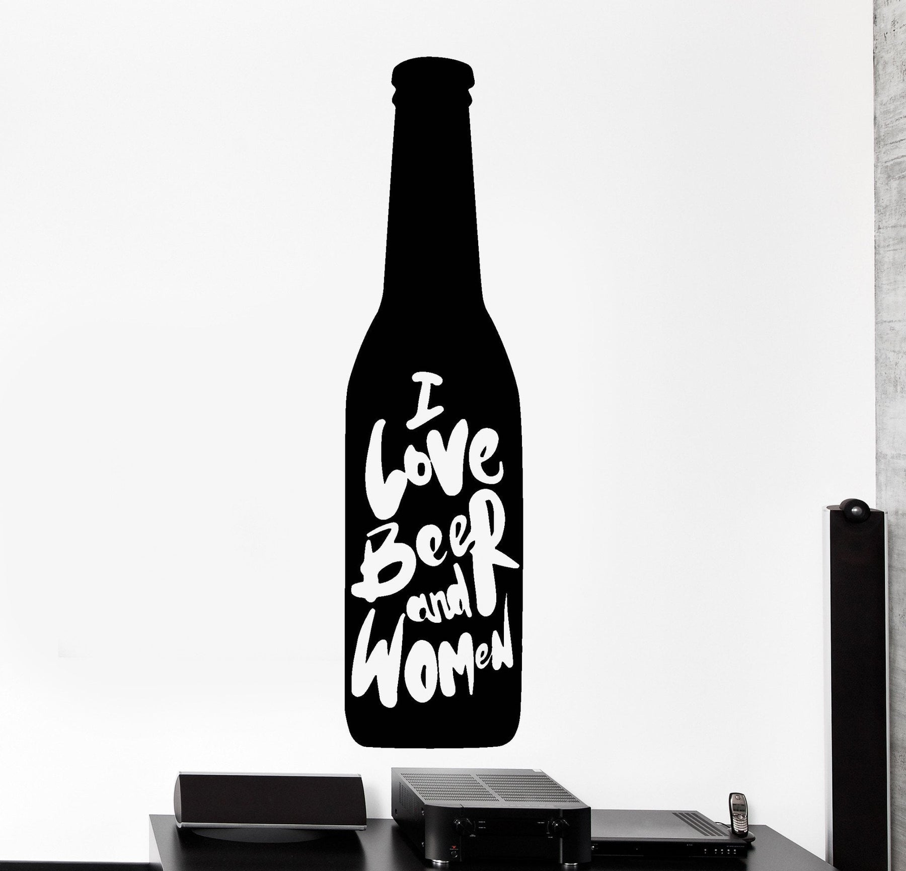 Vinyl Decal Wall Sticker Male motto I love beer and women Unique Gift (z4501)
