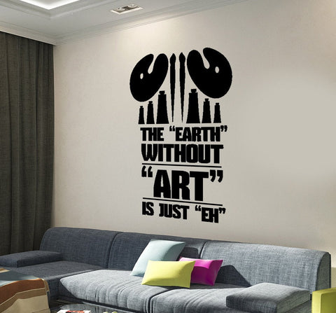 Large Vinyl Wall Sticker Word Cloud  The Earth Without ART (z4502)